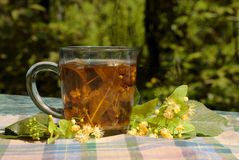 Cup with linden tea. On a textile napkin Royalty Free Stock Images