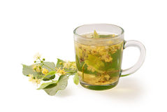 Cup with linden tea v. Cup with linden tea isolated on a white background Stock Image