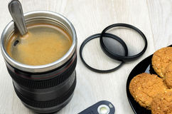 Cup that looks like a camera lens Stock Photo