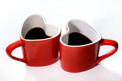 Cup love coffee. Coffee cup love on white background Royalty Free Stock Image