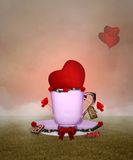 Cup of love. Conceptual valentine illustration with heart in a coffee cup Stock Photography