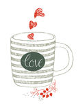 Cup with love design card Stock Photos