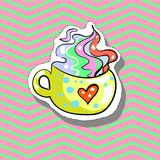 Cup love with heart Fashion patch badge pin sticker pop art style illustration. Cup love with heart Fashion patch badge pin stocker pop art style illustration Stock Photos