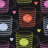 Cup with love and hearts seamless background Royalty Free Stock Photography