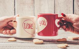 A cup love ... Selective focus. royalty free stock photos