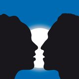 Cup of love (vector). Silhouette of man and woman who kiss (cmyk to rgb Royalty Free Stock Photography