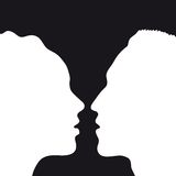 Cup of love (vector). Silhouette of man and woman who kiss (cmyk to rgb Stock Image