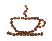 Cup made ​​from coffee beans Royalty Free Stock Photos