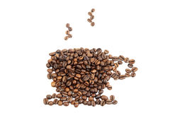 Cup made of cofee beans. Isolated on white background Royalty Free Stock Image