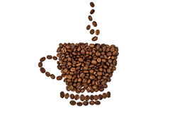 A cup made of coffee beans. Isolated over white background Royalty Free Stock Photo