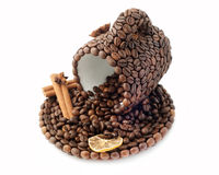 The cup made of coffee beans Stock Image