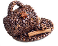 The cup made of coffee beans Royalty Free Stock Image