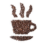 Cup made of roasted coffee on a white background Stock Photos