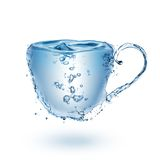 Cup made of water isolated on white Royalty Free Stock Photos