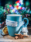 Cup with magic colorful lights and spices. stock images