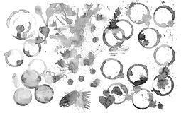 Cup marks blobs splashes. Watercolor art stain on a white background royalty free stock image