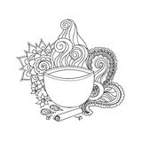 Cup of masala tea and flavoring, ethnic pattern Royalty Free Stock Photos