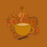 Cup of masala tea and flavoring, ethnic pattern Royalty Free Stock Image