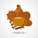 Cup of masala tea and flavoring, ethnic pattern Royalty Free Stock Images