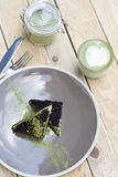 Cup of Matcha Green Tea and Cake and ice cream with matcha Stock Images