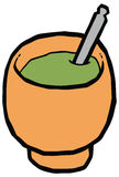 Cup for mate - gourd and bombilla  drawing Royalty Free Stock Photo