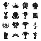 Cup, medal, pennant, and other elements. Awards and Trophies set collection icons in black style vector symbol stock. Illustration Stock Photo