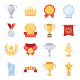 Cup, medal, pennant, and other elements. Awards and Trophies set collection icons in cartoon style vector symbol stock. Illustration Royalty Free Stock Image