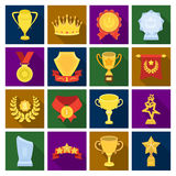 Cup, medal, pennant, and other elements. Awards and Trophies set collection icons in flat style vector symbol stock. Illustration Royalty Free Stock Photos