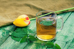 A cup of melissa herbal tea. On a wooden table Stock Image