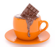 Cup of melting bar of chocolate 3d rendering. Cup of melting bar of chocolate  3d rendering Stock Image