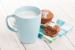Cup of milk and cakes Royalty Free Stock Images