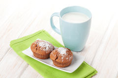 Cup of milk and cakes Royalty Free Stock Photos