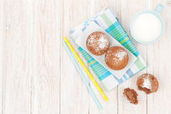 Cup of milk and cakes Royalty Free Stock Image