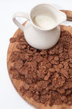 Cup with milk and chocolate cornflakes Royalty Free Stock Photography