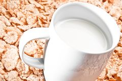 Cup of milk on corn flakes Royalty Free Stock Photo