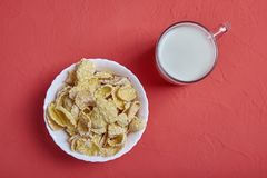 Cup of milk and corn flakes in white bowl stock image