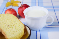 Cup of milk with a cornbread and honey Stock Images
