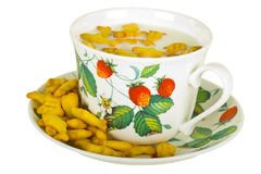 Cup with Milk and Crackers Royalty Free Stock Photo