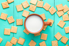 Cup of milk and crackers Royalty Free Stock Image