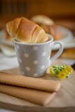 Cup of milk an  dried little bun brioches. Cup of milk with dried cookies for breakfast and brioches little bun Royalty Free Stock Image