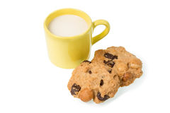 Cup of milk milk and cookies isolated on white background Royalty Free Stock Photos