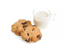 Cup of milk milk and cookies isolated on white background Stock Photo