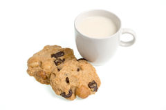 Cup of milk milk and cookies  on white background Stock Photos