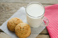 Cup of milk with oatmeal cookies Royalty Free Stock Photography
