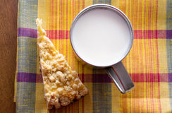Cup of milk and a piece of cake Royalty Free Stock Images