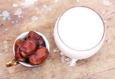 Cup of milk with ripe dates Royalty Free Stock Photos