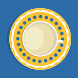 Cup of milk on a saucer, top view Royalty Free Stock Photos