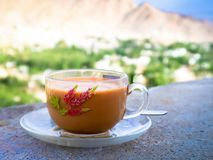 A cup of milk tea on natural background Stock Photos