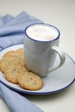 Cup of milkcoffee. And oatmeal cookies stock image