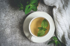 Cup of mint tea closeup, fresh mint leaves and a rug on a gray background.  royalty free stock photo